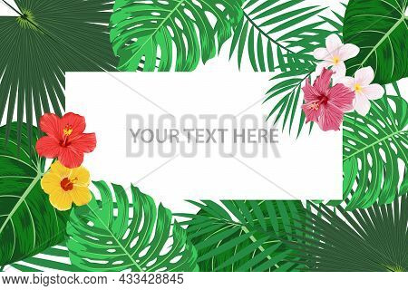 Vector Banner, Card With Tropic Leaves And Flowers. Tropical Background. Flat Vector Illustration. E