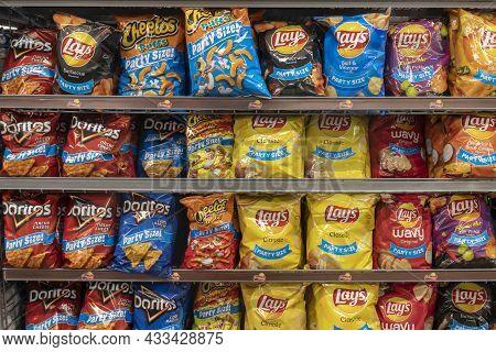 Cincinnati - Circa September 2021: Frito Lay Potato And Snack Chip Display. Frito-lay Is A Subsidiar