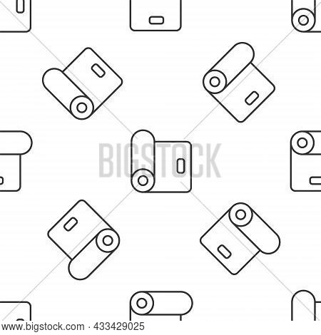 Grey Line Fitness Mat Roll Icon Isolated Seamless Pattern On White Background. Yoga Mat Rolled. Spor