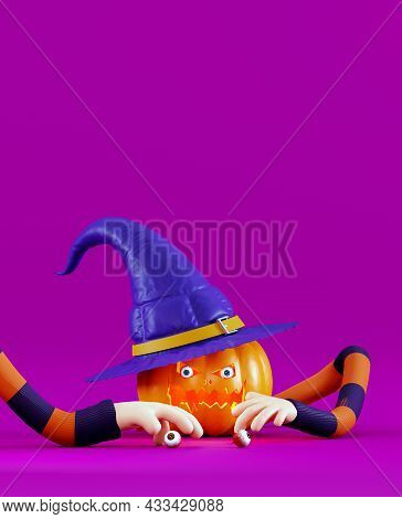 Creepy Pumpkin For Halloween With Human Eyes And Hands. Poster For A Halloween Party, 3d Render. Ela