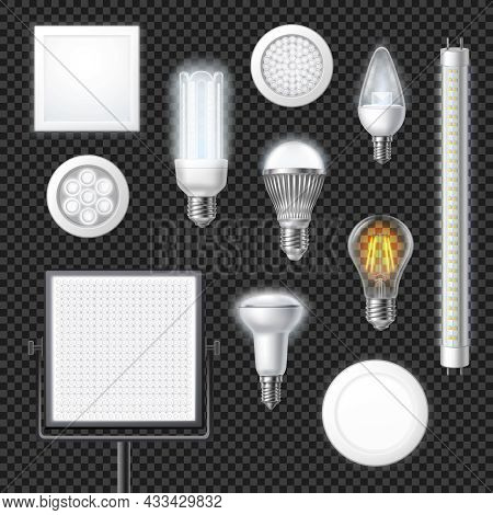 Realistic Led Lamps Of Different Shape And Size Set Isolated On Transparent Background Vector Illust
