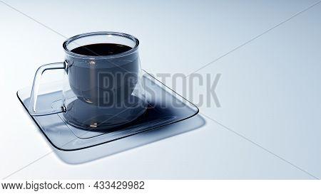 Square Coffee Mug And Saucer, 3d. Modern Glass Coffee Mug On A White Background, 3d Illustration. Gl