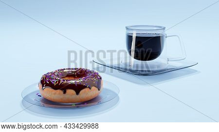 Doughnut And A Cup Of Coffee. Modern Coffee Mug And Chocolate Donut, 3d Render. The Concept Of Break