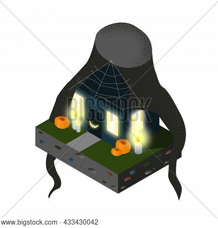 Halloween Isometric Haunted House. Halloween Scene, Spooky Night, Pumpkin, Candles, Cobweb, Bright L