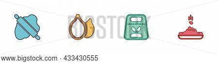 Set Rolling Pin On Dough, Pumpkin Seeds, Pack Full Of Of Plant And Seed Icon. Vector