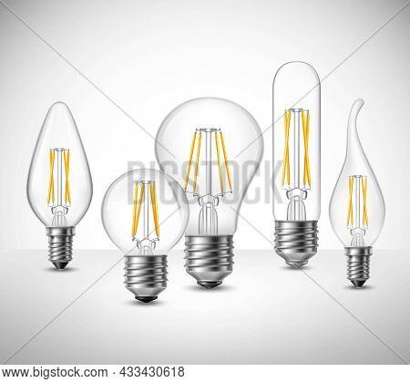 Realistic Set Of Filament Led Lightbulbs On Grey Surface Vector Illustration