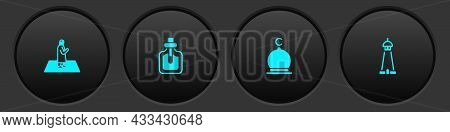 Set Muslim Man Prays, Perfume, Mosque And Tower Or Minaret Icon. Vector