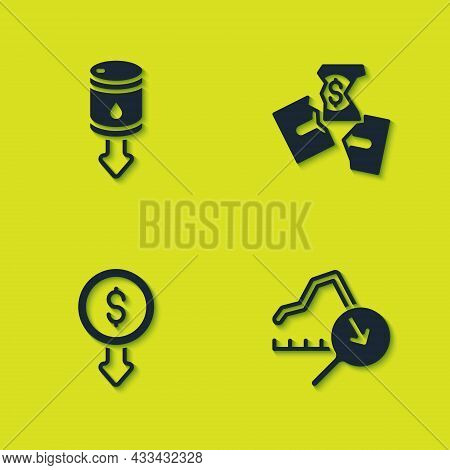 Set Drop In Crude Oil Price, Global Economic Crisis, Dollar Rate Decrease And Tearing Money Banknote