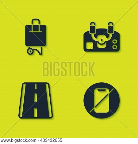 Set Suitcase, No Cell Phone, Airport Runway And Aircraft Steering Helm Icon. Vector