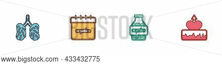 Set Disease Lungs, No Smoking Days, Nicotine Gum Blister Pack And Heartbeat Increase Icon. Vector