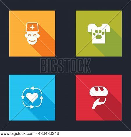Set Male Doctor, Animal Volunteer, Volunteer And Donation Food Icon. Vector