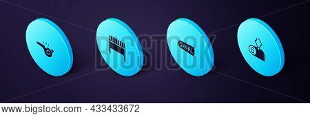 Set Isometric Buy Football Player, Goal Soccer, Football Goal And Whistle Icon. Vector