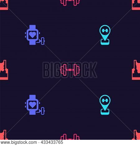 Set Location Gym, Smart Watch With Heart, Dumbbell And Sweaty Sleeveless T-shirt On Seamless Pattern