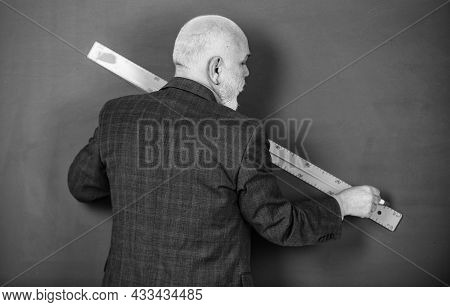 Explore Different Subjects And Disciplines. Man Tutor Chalkboard Background. Mature Lecturer Share K