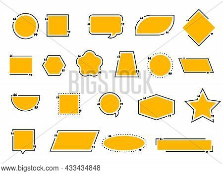 Quote Bubble And Boxes, Chat Message, Comment And Note Quote Frame Icons. Vector Borders And Blank S