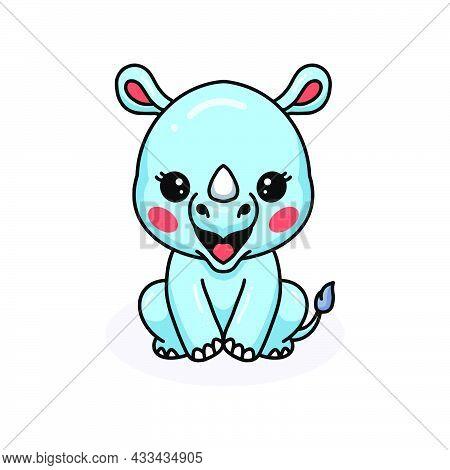 Vector Illustration Of Cute Baby Rhino Cartoon Sitting