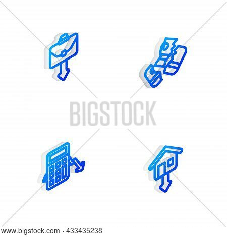 Set Isometric Line Credit Card, Briefcase, Calculation Of Expenses And Falling Property Prices Icon.