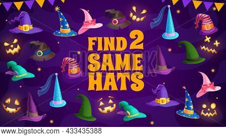 Find Two Same Wizard And Witch Hats Kids Riddle. Vector Maze Game With Halloween Magician Caps For C