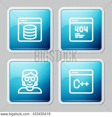 Set Line Server, Data, Web Hosting, Page With 404 Error, Hacker Coder And Software Icon. Vector