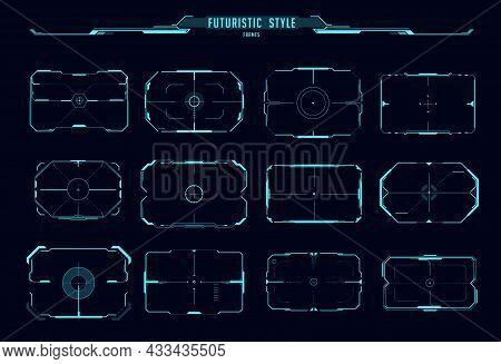 Hud Aim Control Frames, Ui Interface Vector Design Of Sci Fi Game. Digital Target Futuristic Frame B