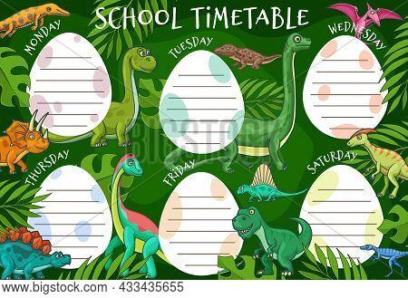 Kids Education Timetable Schedule, Cartoon Dinosaurs And Tropical Leaves, Vector School Weekly Plann