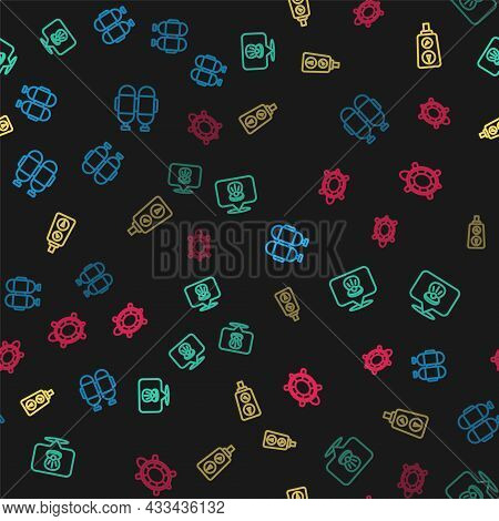 Set Line Aqualung, Scallop Sea Shell, Gauge Scale And Turtle On Seamless Pattern. Vector