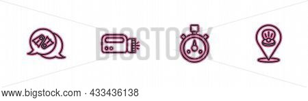 Set Line Flippers For Swimming, Stopwatch, Flashlight Diver And Scallop Sea Shell Icon. Vector