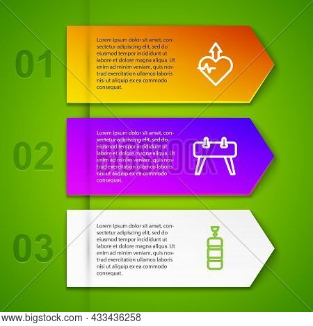 Set Line Heartbeat Increase, Pommel Horse And Punching Bag. Business Infographic Template. Vector