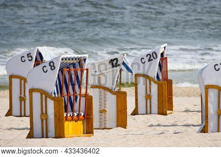Beach Baskets On The Baltic Sea, Beach In Kołobrzeg