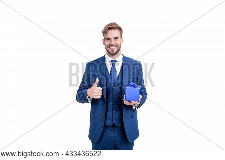 Businessman In Businesslike Suit Hold Gift Box As Business Reward Showing Thumb Up, Giftbox.