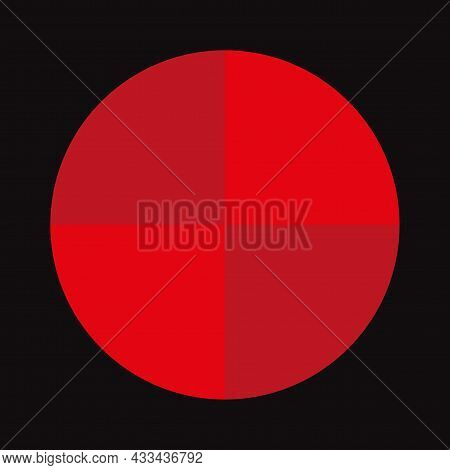 Segments Of Red Circle. Round Sign. Black Background. Cycle Diagram. Business Concept. Vector Illust