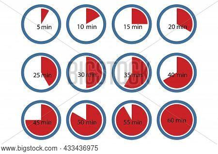 Red Minutes Part Time Set. Red Timer Symbol. Stopwatch Emblem. Red Alarm Clock. Vector Illustration.