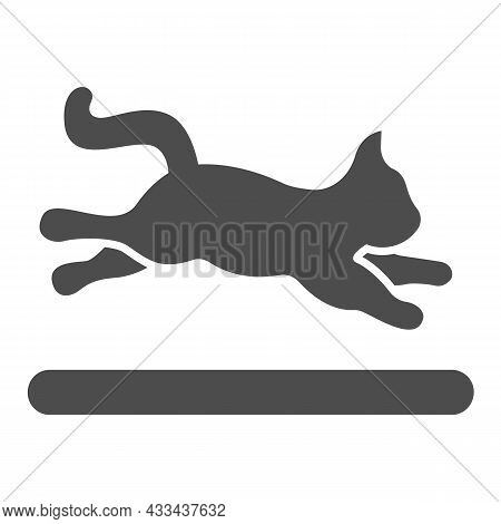 Jumping Cat, Kitty In Motion Solid Icon, Pets Concept, Active Kitten Jumps Vector Sign On White Back