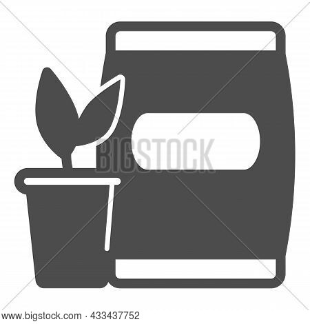 Pot With Sprout And Bag Of Soil Solid Icon, Gardening Concept, Seedling And Fertilizer Vector Sign O