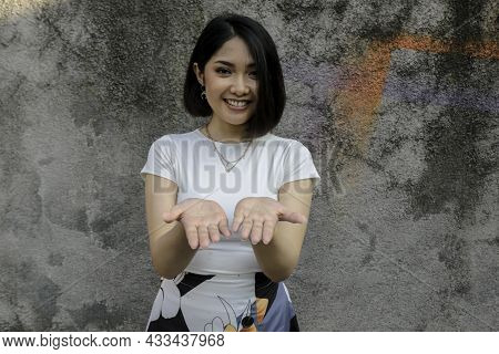 Smile Asian Women Smiling Show Palm In Front For Present