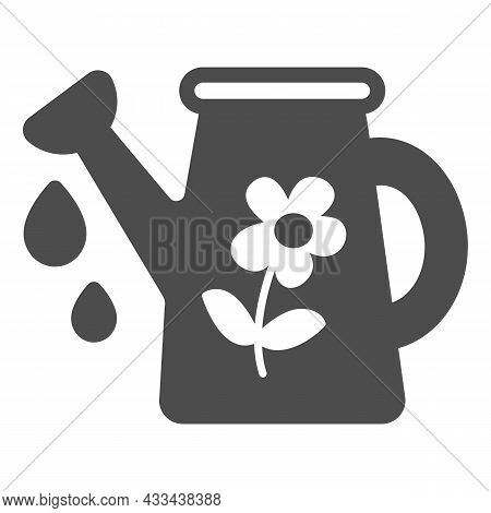 Watering Can With Flower And Water Drops Solid Icon, Gardening Concept, Watering Pot Vector Sign On