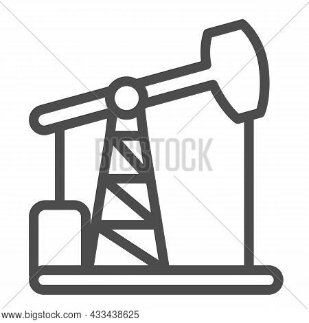 Oil Pump Jack, Oil Extraction Station, Rig Line Icon, Oil Industry Concept, Pumpjack Vector Sign On