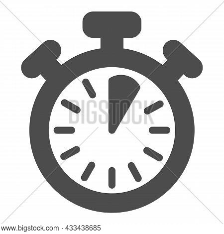 Stopwatch With Buttons, 5 Seconds, Timer, Chronometer Solid Icon, Time Concept, Clock Vector Sign On