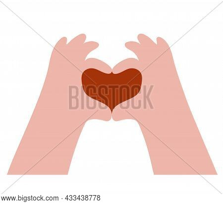 Hand Gesture Making A Heart Symbol. Inside Is A Red Heart. Vector Illustration. People Body Language