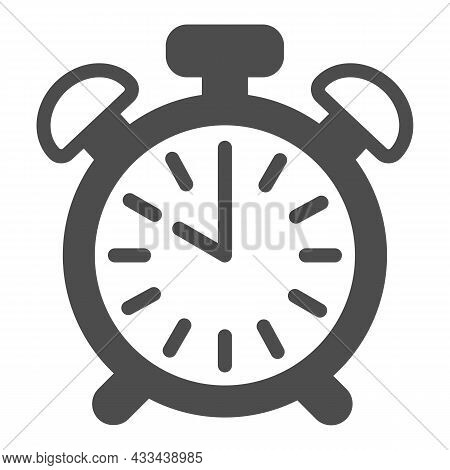 Vintage Alarm Clock With Button, 10 Pm, 10 Am Solid Icon, Time Concept, Timepiece Vector Sign On Whi