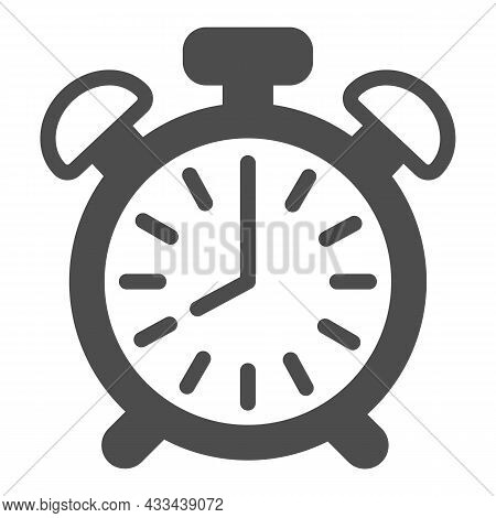 Vintage Alarm Clock With Button, 8 Pm, 8 Am Solid Icon, Time Concept, Timepiece Vector Sign On White