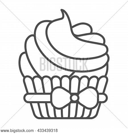 Cupcake With Bow And Cream Frosting Thin Line Icon, Pastry Concept, Creamy Muffin Icing Vector Sign