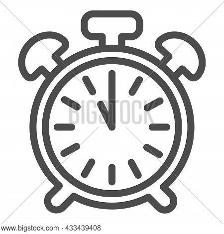 Vintage Alarm Clock With Button, 11 Pm, 11 Am Line Icon, Time Concept, Timepiece Vector Sign On Whit