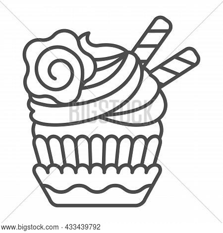 Cupcake With Cream Icing, Waffle Straw And Flower Thin Line Icon, Pastry Concept, Muffin Vector Sign