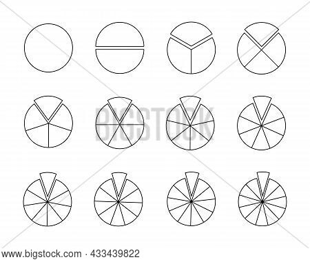 Circles Segmented Into Sections From 1 To 12. Pie Or Pizza Shapes Cut In Equal Slices In Outline Sty