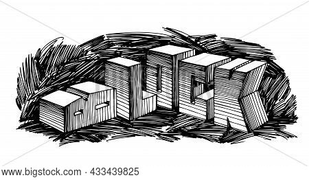 Construction Of Cube Blocks, Industrial Text, Cement Foundation, Stone Letters, Vector Illustration