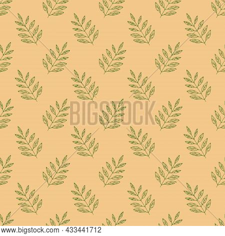 Leaves Seamless Pattern Hand Drawn Doodle. Vector, Minimalism. Textiles, Wrapping Paper Wallpaper Au