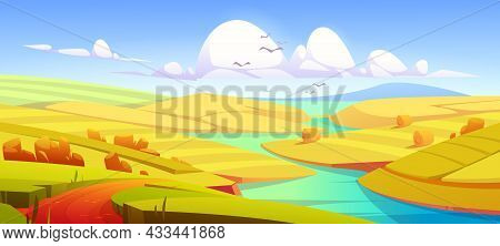 Rustic Autumn Meadow Landscape, Rural Yellow Field With Dirt Road, River, Hay Stacks And Mountain On
