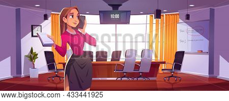 Businesswoman In Conference Room For Meetings, Presentation For Team Or Discussion. Vector Cartoon I