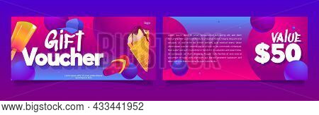 Gift Voucher Template With Ice Cream, Slippers And Cap. Vector Coupon For Sweet Shop, Cafe On Beach